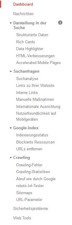 Google Search Console - Dashboard