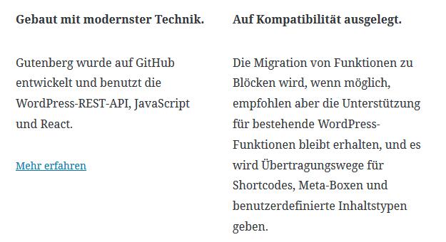 Gutenberg der neue WordPress Editor - Spalten