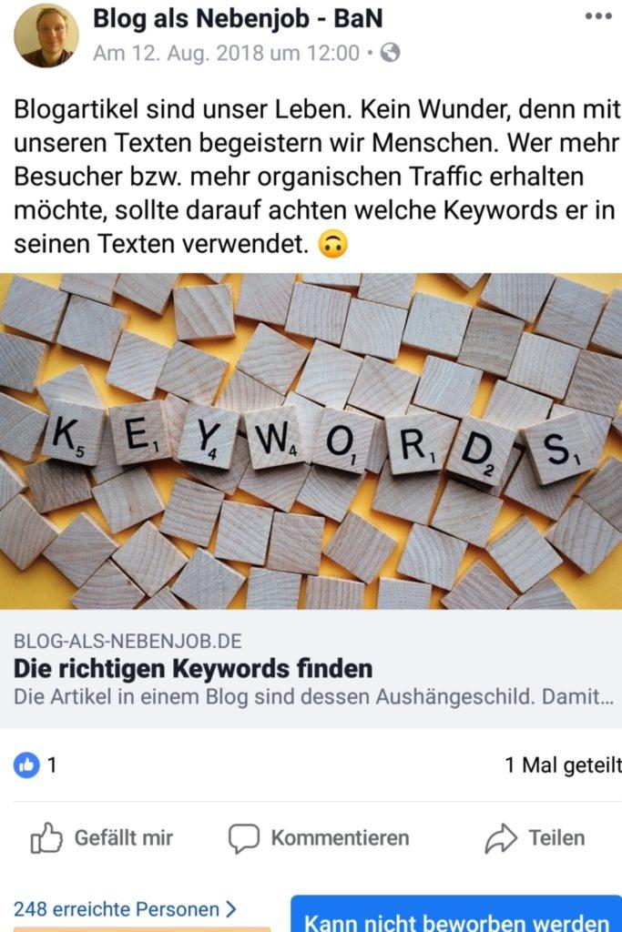 Organische Reichweite auf Facebook - Facebook Marketing Tipps - Erreichte Personen August 2018