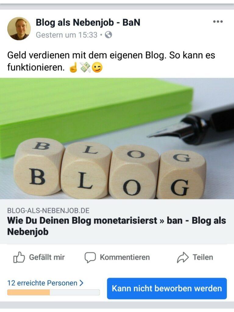 Organische Reichweite auf Facebook - Facebook Marketing Tipps - Erreichte Personen Januar 2019