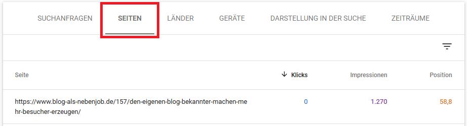 Google Search Console - Unterseite