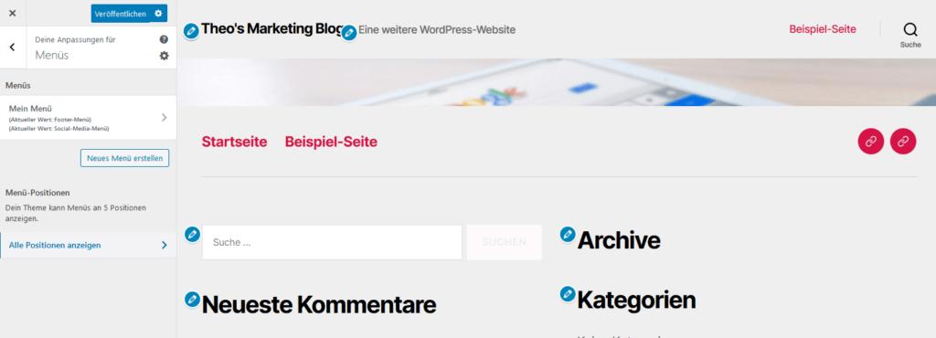 WordPress Einstellungen Costomizer