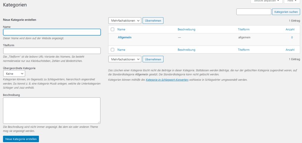WordPress Einstellungen - Kategorien anlegen