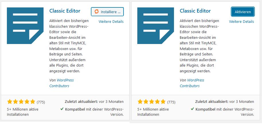 WordPress Plugins Installieren und Aktivieren