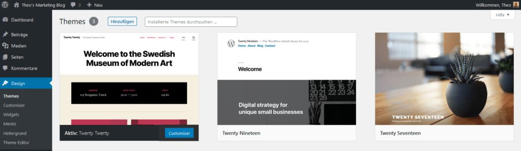 WordPress Themes - Backend