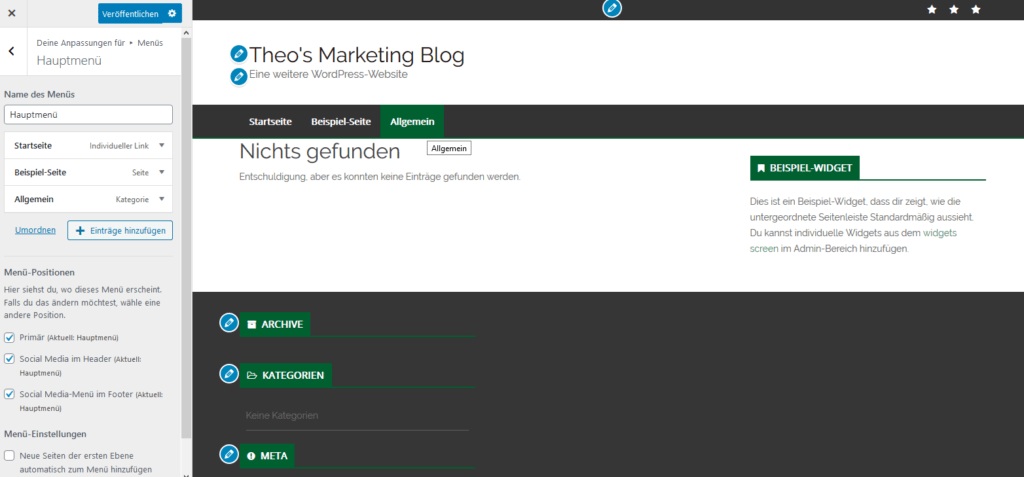 WordPress Themes Menü hinzufügen