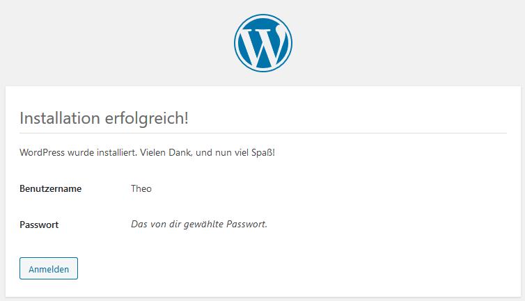 WordPress Tutorial deutsch - Installation erfolgreich