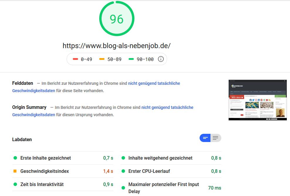 Page Speed Test - 96 Punkte Desktop
