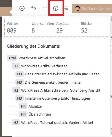 Gutenberg Editor - Strukturierung und Wörter