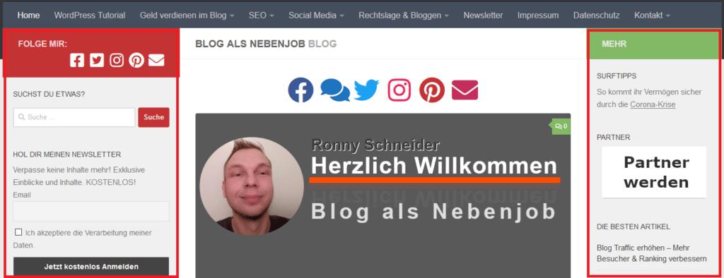 HTML Sidebar hier im Blog - Desktop Ansicht