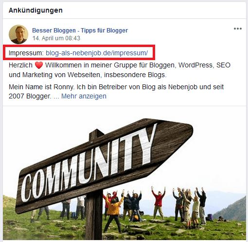 Impressum Facebook Gruppe