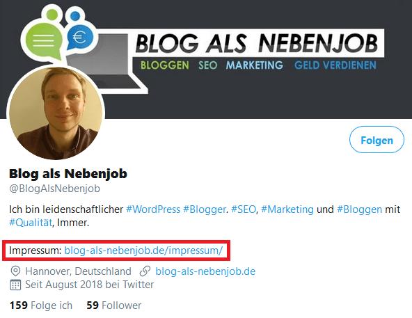 Impressum Twitter Profil