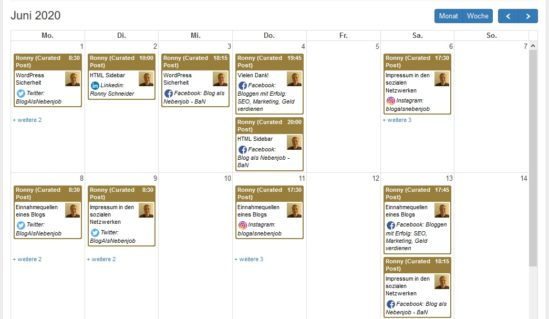 Blog2Social - Kalenderansicht Juni 2020