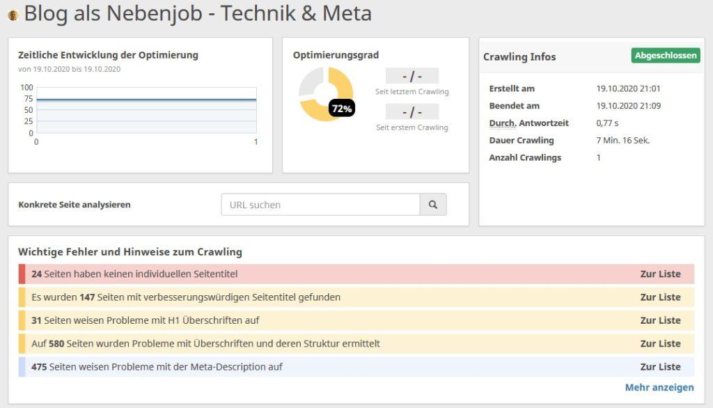 SEO Werkzeug Technik & Meta