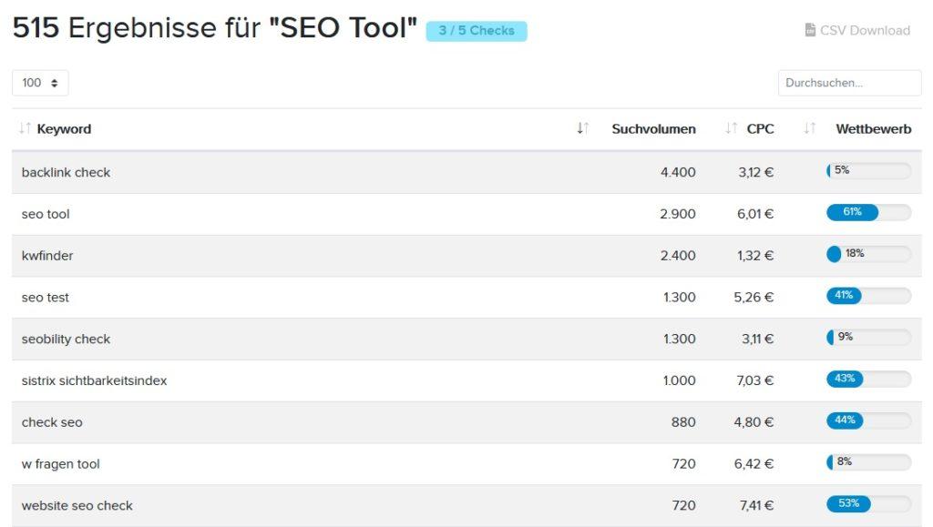Seobility SEO Tool Keywords prüfen