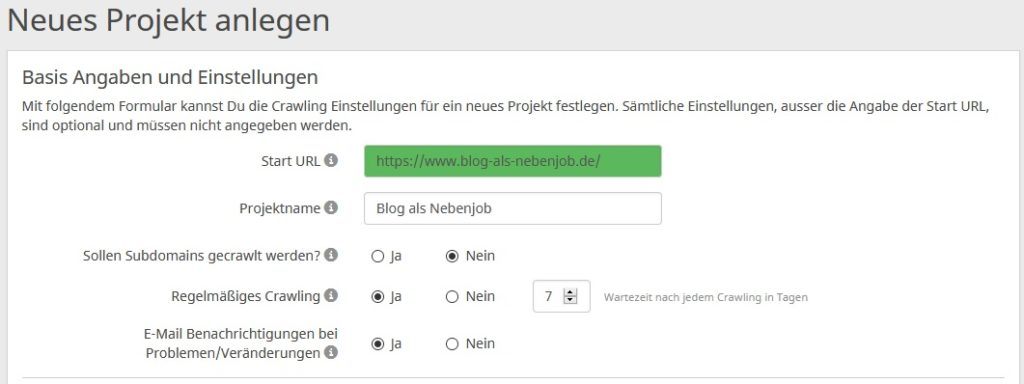 seobility Neues Projekt anlegen Basis Angaben