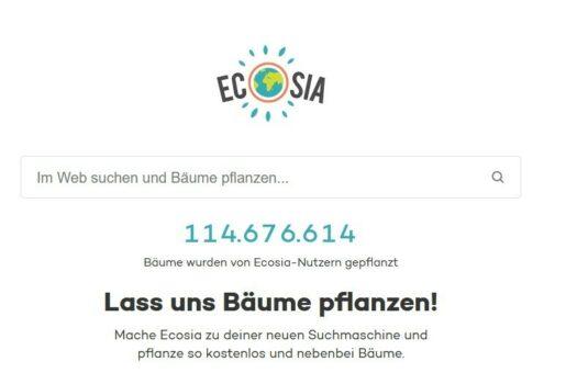 Ecosia Lass uns Bäume pflanzen
