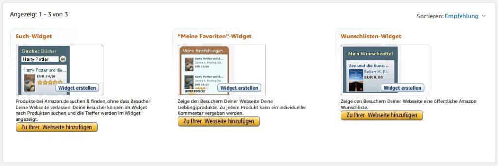 Die Amazon Partnerprogramm Widgets