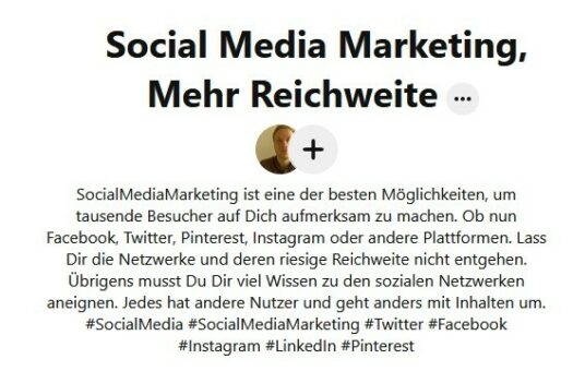 Pinnwand Social Media Marketing