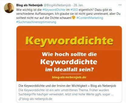 Twitter Beitrag - Beispiel Tweet