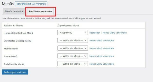 Menü Positionen in WordPress verwalten