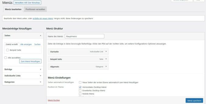 Menüs in WordPress verwalten
