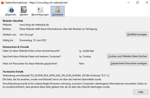 Daten zum SSL Zertifikat - Letsencrypt Zertifikat