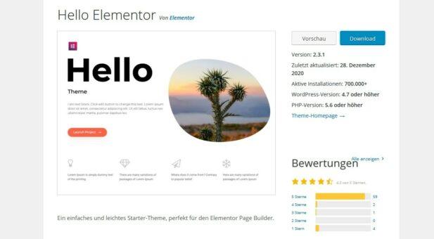 Hello Elementor WordPress Template Theme; Quelle: WordPress.org