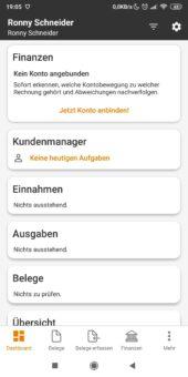 Lexoffice Dashboard in der Lexoffice App