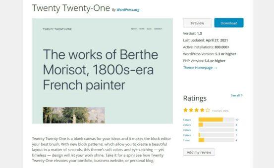 Twenty Twenty und Twenty Twenty One; Quelle: WordPress.org