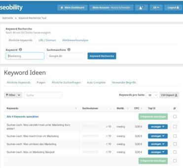 Seobility Auto Complete Recherche