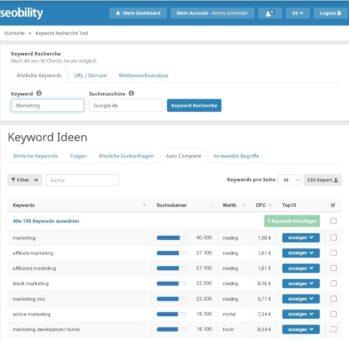 Seobility Keyword Recherche Tool Fragen