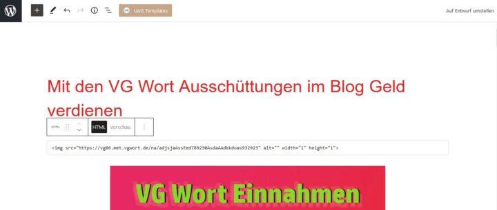 VG Wort Zählpixel in WordPress einbinden
